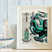 ART PRINT ORIGINAL ANTIQUE BOOK PAGE Vintage Dictionary NAUTICAL OCTOPUS