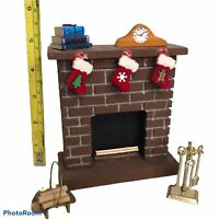 "Vintage Foam Brick Fireplace Tools Logs Christmas Stockings 5"" Dollhouse Mini"