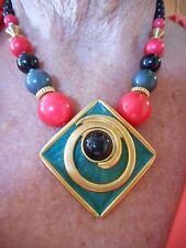 Vintage 1980's Gold Tone Egyptian Revival Pink & Black Statement Necklace