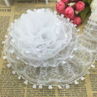 NEW 5 yards 2-Layer 50mm White Organza Lace Gathered Pleated Sequined Trim D-UK#