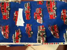 Kaufman Movin On Fire Engines Antique Fabric