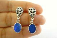Dark Blue Australian Opal 925 Sterling Silver Dangle Drop Earrings