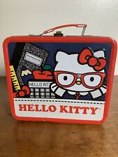Sanrio Hello Kitty Glasses Red Trim blue Stripe Lunchbox Loungefly Tin Tote Rare