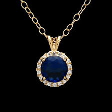 1CT Blue Sapphire Halo Created Diamond Pendant Solid 14k Yellow Gold Charm
