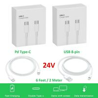 24w PD Type-C 6ft Cord Super Fast Charger Cable For Iphone11 Macbook Samsung