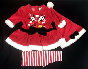 Disney Store Baby Red White Velour Santa Mickey Minnie Dress Leggings Set 0-3 MO