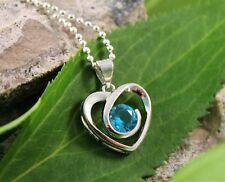 Silver Aqua Gemstone Heart Pendant Necklace w/Free Jewelry Box and Shipping