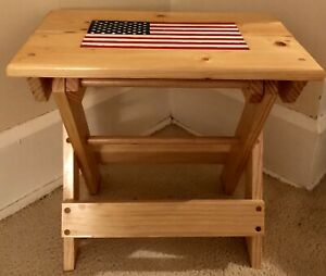 Handcrafted Folding American Flag Wooden Portable Bench Laptop Table Nightstand