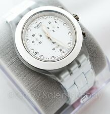 NEW Swatch Full-Blooded White SVCK4045AG Quartz Chronograph Date Dial Watch NWT