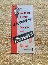 Vintage 1950's Maccaferri Plastic Guitar Hang Tag Brochure Case Candy Rare 1955