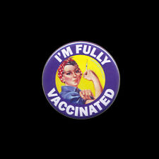 I'm Fully Vaccinated BUTTON Rosie Riveter pinback lapel pin vaccination 2.25-in