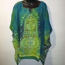 Top Fits L XL 1X Plus Blue Green Dashiki African Tunic Cotton Africa NWT GP25 CC