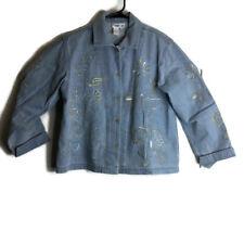 Coldwater Creek Womens Petite Medium Jean Denim Embroidered Jacket Shirt