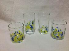 Four (4) Hand Blown Confetti Glass TUMBLERS Colorful Art Glass