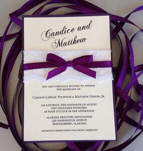 Set of 50 Dark Purple Ribbon and Lace Wedding Invitations