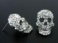 White Gold-Plated Full Crystal Skull Czech Crystal Earrings