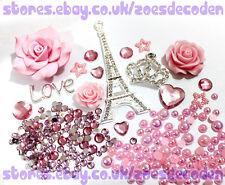 3D DIY Mobile Cell Phone Case pink Eiffel Tower flower cabochon Deco Den Kit