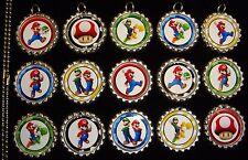 15 Super Mario Silver Flat Bottle Cap Necklaces Set 1