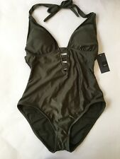 NEW Mossimo Women's One Piece Swimsuit Halter Olive Green Size L