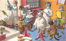Mainzer Hartung Postcard 4880 Dressed Cats at the Barber Shop, Scared Kitten