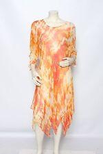 CARTER TERI Bright Orange Yellow Long Sleeve Asymmetrical Dress - Size M L