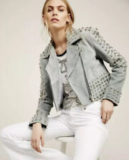 FREE PEOPLE UNDERSTATED LEATHER CROPPED SUEDE STUDDED JACKET sz S Embellished