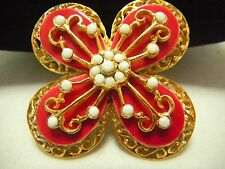Vtg MOD *HATTIE CARNEGIE* Red Enamel White RS Floral Brooch/Pin Exc. Cond.