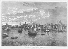 South East View of LONDON in 1550  - Antique Print 1892