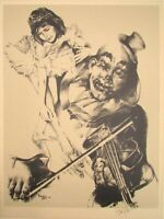 Ari Harpaz Pencil & Plate Signed & Dated 74 Lithograph Art Clown Plays Violin