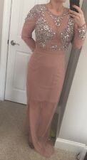 Asos New Maya Tall Embellished Long Maxi Dress Beige Size 12