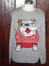BURTON MENSWAR LIGHT PALE GREY BRITISH BULLDOG DOG NOVELTY JUMPER SIZE L LARGE