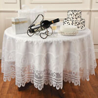 White Vintage Round Tablecloth Floral Lace Table Cover Wedding Party Decor 208cm