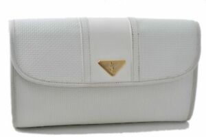 Authentic YVES SAINT LAURENT Clutch Bag PVC Leather White B4166