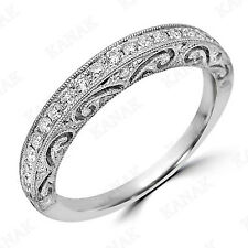 White Real Gold Wedding Band Ring Vintage Art Deco Natural Diamond 14k