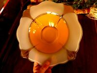 Moderne Classic Indiana Glass Yellow White Silver Art Deco Serving Bowl apx 11""