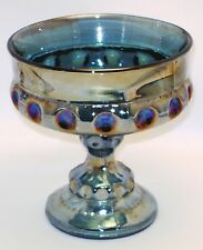 Compote Blue Carnival Glass Dish Bowl Iridescent Kings Crown Thumbprint Pedestal