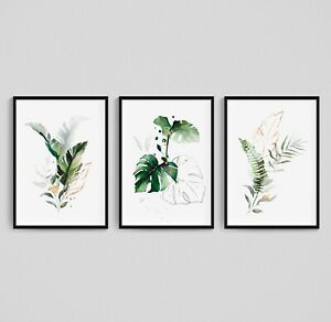 Fern Leaf Palm Botanical Print Set of 3 Monstera Wall Art Green Leafy Home Decor
