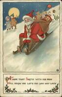 Christmas - Santa Claus on Sled TUCK Series 549 c1910 Postcard