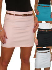 Womens Mini Skirt Stretch Sateen Bodycon With Belt 8-18