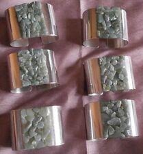 6 ronds de serviettes vintage en métal argenté & pierres colorées