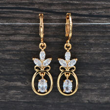 Fashion Women Gold Plated Clear Cubic Zirconia CZ Flower Oval Dangle Earrings