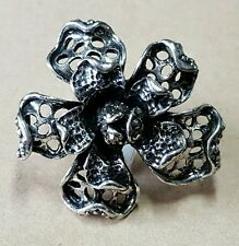 New fashion cocktail ring jewelry adjustable black silver shaped flower alloy