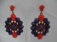 "Pierced gold, purple, & red stone 2 1/4"" dangling flower earrings"