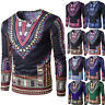Fashion Men's Tops Traditional African Print Long Sleeve T-Shirt Blouse Slim Tee