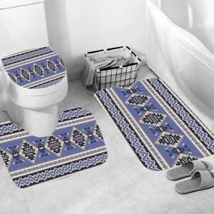 Geometric Shower Curtain Bathroom Rug Set Bath Mat Non-Slip Toilet Lid Cover