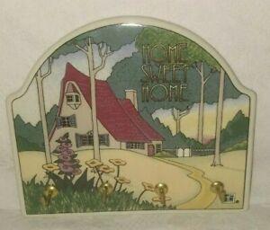 Vintage 1994 Mary Engelbreit Home Sweet Home Wall Key Holder Hook Rack Ceramic