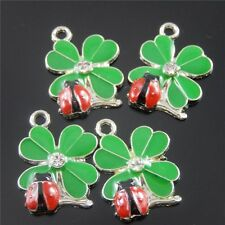 20pcs Green And Red Color Clover  ladybug Enamel Pendant Charm Finding 37058
