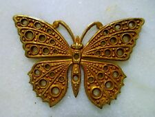 1 Vintage Die Struck Patina Raw Brass Butterfly or Moth Filigree Stamping