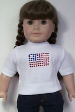 "WHITE T-Shirt Top FLAG Embellishmets Doll Clothes For 18"" American Girl (Debs)"