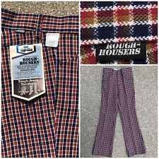 5e677edf8d1 Vtg 70s Jeans Sears Original ROUGH HOUSERS Plaid Bell Pants12 slim NOS  Talon 42